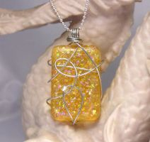 Wire Wrapped Amber Pendant by lavadragon