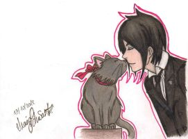 Sebastian kisses a kitty by Merruschka