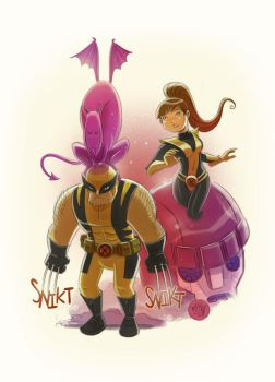 Wolvie and Kitty by mikemaihack