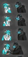 Commission: Armani and Brody Expression Sheet by Temiree