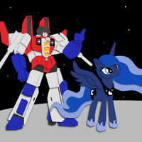 Commission:  Starscream + Luna Shadowbox Mock-Up by The-Paper-Pony