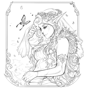 Laurielora Paleleaf - Lineart Commission by clover-teapot
