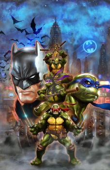 BatmanTMNT cover Wilkins by Dave-Wilkins