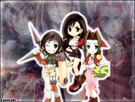 Chibi Yuffie Tifa and Aerith by LoveLoki