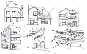 Japanese buildings - sketches by Shnoozan