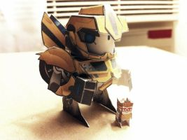 Chibi BumbleBee with Raph paper model by wulongti