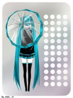 Hatsune Miku with an umbrella by 1itt1e-1i