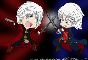 Dante vs Nero - Chibies by Sabi13
