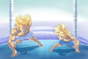 :Comission-Pushup competition/GohanXTrunks by PhantomStudio-Tommy