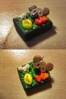 Rilakkuma Bento Box Charm~ Polymer Clay by FeatherLetters