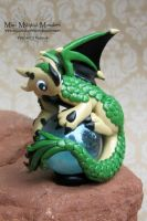 Scaled Green and Tan Polymer Clay Dragon on a Marb by MiniMythicalMonsters