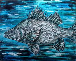 Blue fish embossed panel by shmeeden
