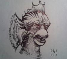 Fishman Creature From the Black Lagoon ballpoint by DoctorFantastic