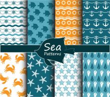 8 Marine Elements Seamless Background Vector by FreeIconsdownload