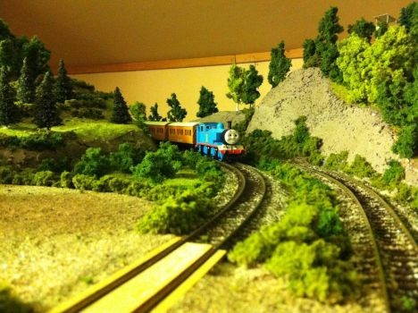 thomas with annie and clarabel at the countryside by Alexanderfoxfive