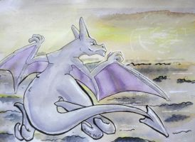 Aerodactyl in the sky by UmbreoNoctie
