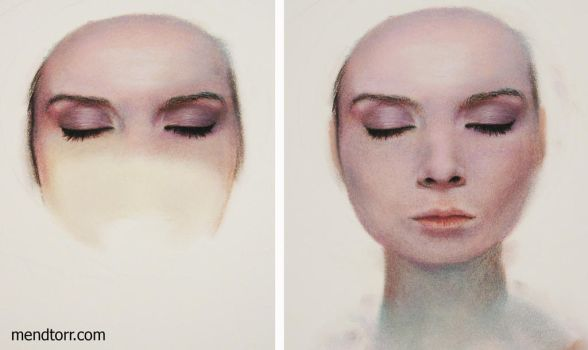 process of pastel painting 'Impish Idealization' by Mendtorr