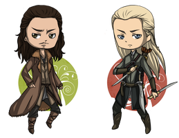 The Hobbit: Bard and Legolas by Angels-Leaf