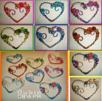 Blossomed hearts - pendants by colourful-blossom