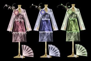 Bows Blossoms Leaves - Dresses by rockgem