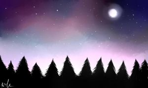 Trees in the night ~ by Sango94