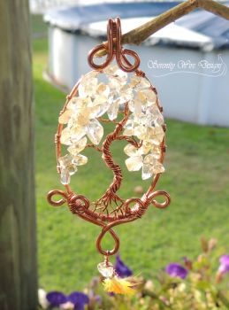 Sun Conure Tree of Life Pendant *SOLD* by SerenityWireDesigns