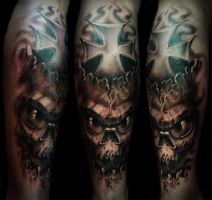 Skull with iron cross by strangeris