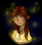 Woman deer with antlers - new oc by EnderaChanArt