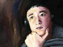 Self Portrait Oil Painting by JustMarDesign