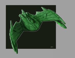 25th Century Romulan Bird Of Prey Redux Color by Ihlecreations