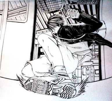 Ryoma Echizen-kun sliding in train by laleyth