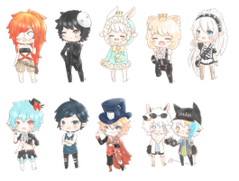 A bunch of chibi gaia commissions by maicafee