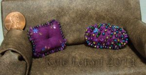 Mini Purple Beaded Pillows by Kyle-Lefort