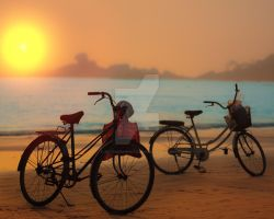 Bicycles, beach, dawn by MotHaiBaPhoto