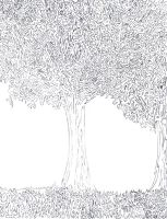 One Line: Trees and Grass by bewaretheides