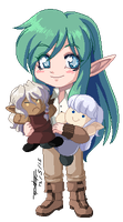 Let with plushies by Taralen