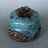 Blue Gold Rose Trinket Box by MandarinMoon