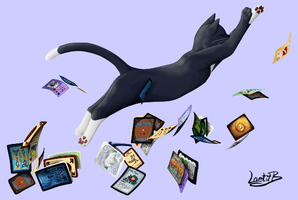Cat playing with cards / chat jouant avec cartes by LaetitB-Design