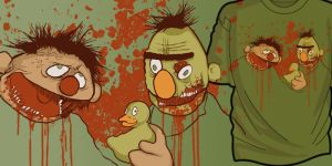 Bert and Ernie Zombies Tee by KillerNapkins