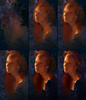 Evening Portrait Process by AaronGriffinArt