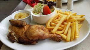 Chicken, fries, salad and applemush by roxan1930