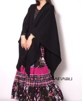 Black Wool Knit Tassel Shrug2 by yystudio