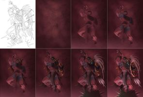 Step by Step Jaguar warrior by Sandoval-Art