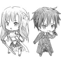 Asuna and Kirito sketch by craytm