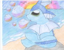 Vaporeon on Spectrum Beach by Wolfie-Forever