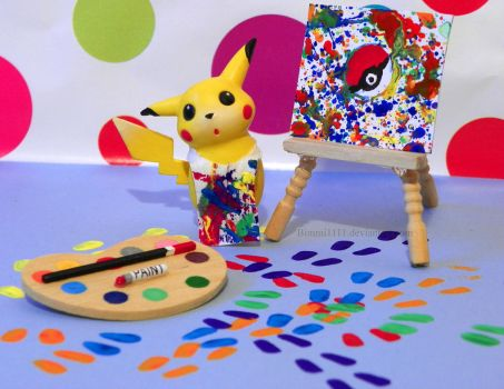 Let's paint a picture, Pikachu! by Bimmi1111