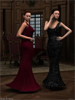 Sam and Chris in evening gowns by Sedorrr