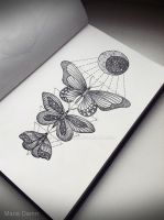 butterflies sketch by mariedamn