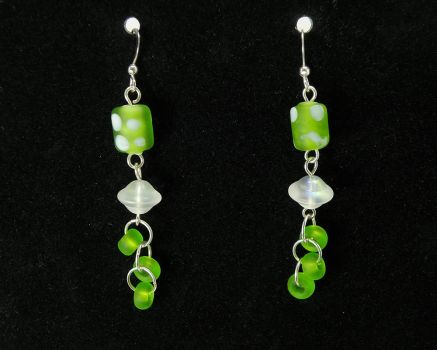 Fanciful Green and White Glass Dangle Earrings by Cillana