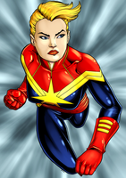 Captain Marvel by dwaynebiddixart